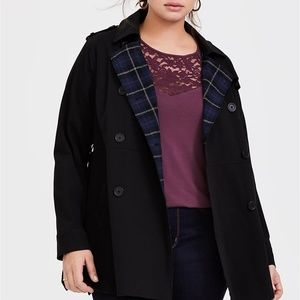 BLACK TWILL & PLAID LINED TRENCH COAT Torrid size0